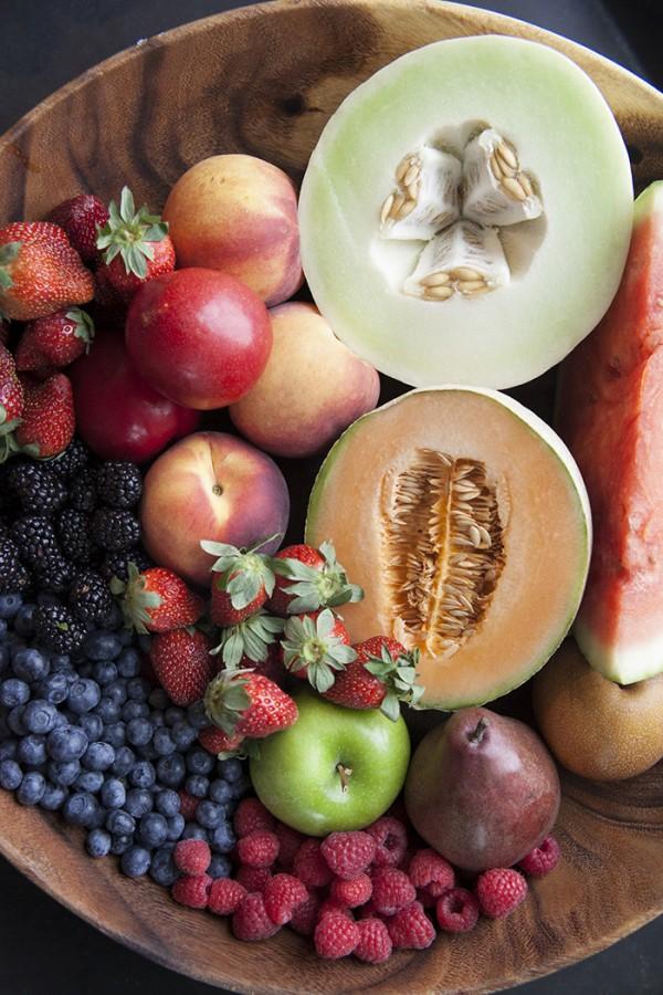 fresh fruit-cantalope-honey dew-blueberries-peaches