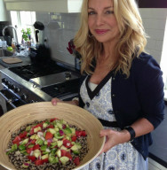 Holli with Quinoa Salad in Kitchen