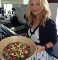 Holli with Quinoa Salad in Kitchen